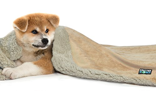 KritterWorld Pet Dog Cat Puppy Kitten Microplush Sherpa Snuggle Blanket for Couch, Car, Trunk, Cage, Kennel, Dog House, 45