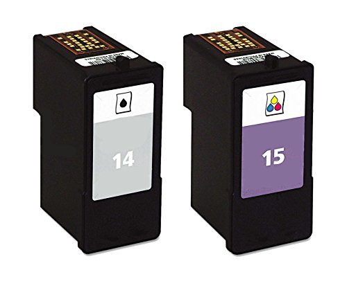 2 Pack for Lexmark 14 Black 15 Color ink cartridges for Lexmark combo Compatible with: Z2300 Z2320 X2600 AIO X2650 AIO X2670