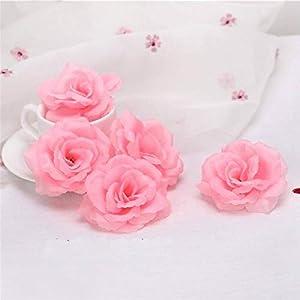 Lotus leaf fragrance 10pcs 8cm Gold Artificial Rose Silk Flower Heads Decorative Flowers for Wedding Home Party Banquet Decoration,Light Blue 5