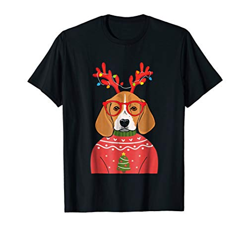 Reindeer Lights Beagle Ugly Christmas Sweater T-shirt