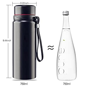 Water Bottle by iTECHOR, 25Oz BPA Free Leak-proof Sports Cap Stainless Steel Vacuum Cup Hot & Cold Portable Water Bottle with Bottle Brush