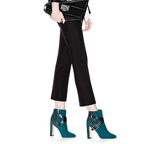 Correas Negro Con Gruesas Metal yc Botas L Invierno Cómodo Otoño Cruzadas Pu Mujer De Blue w8fxOfgqa