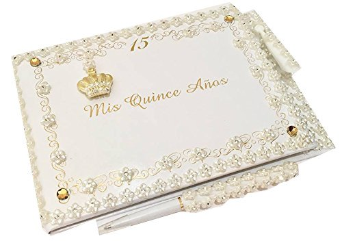 Mis Quince Anos Quinceanera Crown Guest Book with Pen Set]()