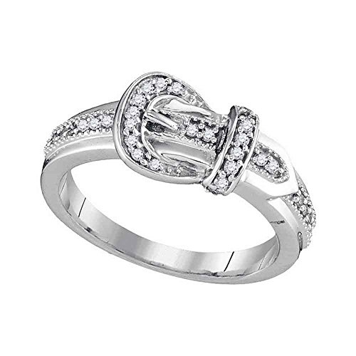 Sonia Jewels Size 7-10k White Gold Round Diamond Belt Buckle Band Ring (1/5 Cttw) (10k Gold Buckle Ring)