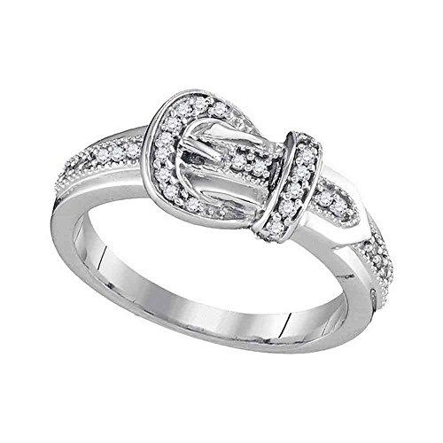 Gold Diamond Belt Buckle - Sonia Jewels Size 7-10k White Gold Round Diamond Belt Buckle Band Ring (1/5 Cttw)