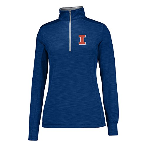 J America NCAA Illinois Illini Women's Courtside Poly Fleece 1/2 Zip Sweater, Medium, Navy/Cement (Fleece Illinois Illini)