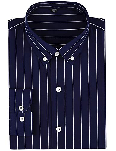 - DOKKIA Men's Casual Long Sleeve Vertical Striped Slim Fit Dress Shirts (Navy Blue White, Small)