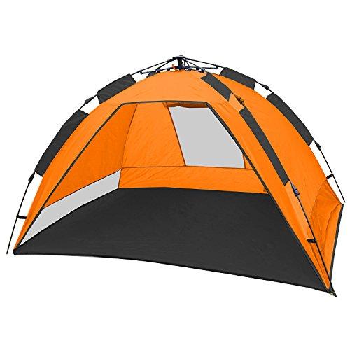 CampFeuer - Strandmuschel, orange / grau , UV50+, Automatik Strand Zelt, beach tent