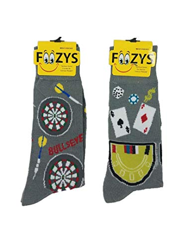 Foozys Mens Crew Socks (Game of Chance Pack - Darts + Cards ()