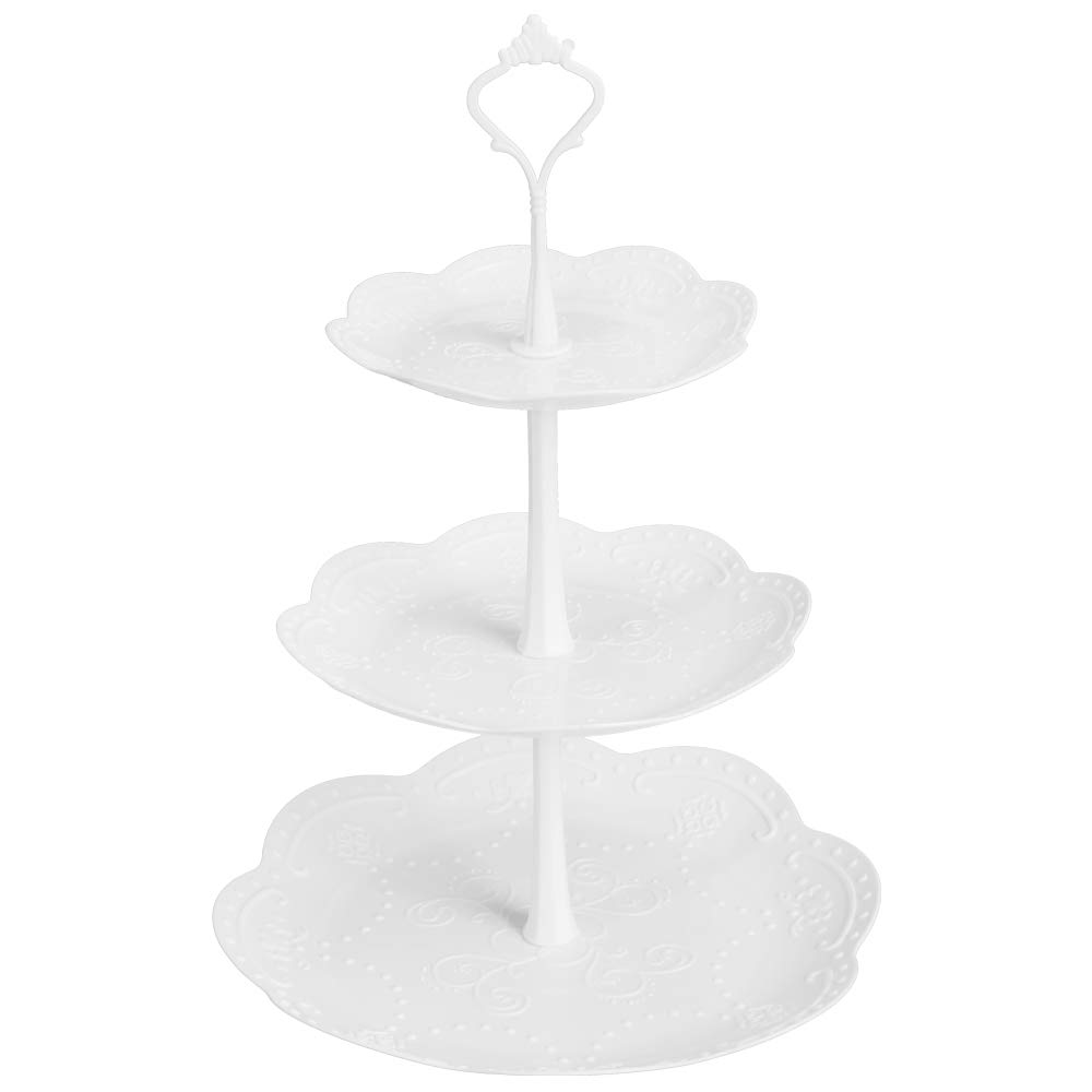 Coitak 3 Tier Cupcake Stand, Plastic Tiered Serving Stand, Dessert Tower Tray for Tea Party, Baby Shower and Wedding (Pure White) (Plastic)
