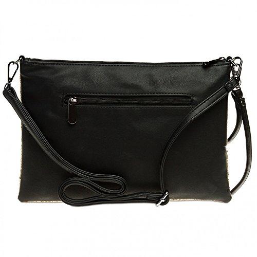 CASPAR TA341 große Damen XL Glitzer Pailletten Clutch Tasche Abendtasche mit Handschlaufe Gold QvqgZwdLx