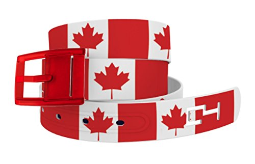 C4 Canadian Maple Leag Belt with Red Buckle - Fashion Waist Belt for Women & Men