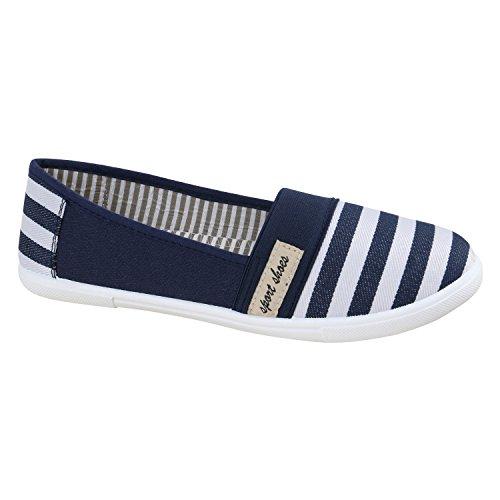Stiefelparadies Bequeme Damen Slipper Slip-Ons Sportliche Schuhe Flats Stoffschuhe Prints Glitzer Freizeitschuhe Flandell Blue Weiss
