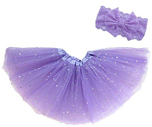 Jasmine Costume Modest (Dancina Tutu Headband Set Girls Cute Fashion Sparkly Stars Sequins Dress 2-4 years Lavender Glitter)