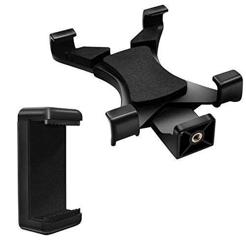 Tablet&Phone Mount,PEYOU Compatible for iPad Universal Tablet Tripod Adapter + Cell Phone Mount Holder Clamp Compatible for iPad Air Mini,Compatible for iPhone XS Max XR X 8 7 6 Plus,Galaxy S9 S8 Plus