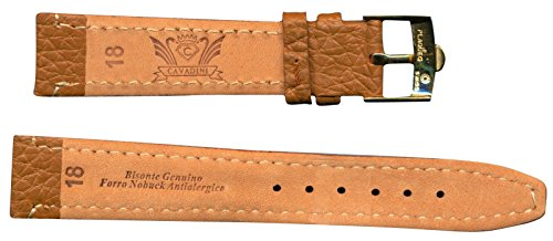 GENUINE GOLD OMEGA BUCKLE GENUINE BISON BUFFALO WATCH STRAP 18mm LEATHER (Genuine Omega Buckle)