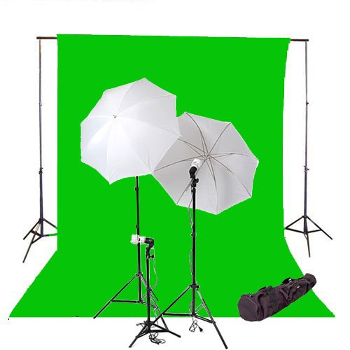 CowboyStudio 600 Watt Photo Studio Continuous Triple Lighting Kit, 10 X 20ft Green Muslin Backdrop with 12 Feet Background Support System and Carry Case by CowboyStudio