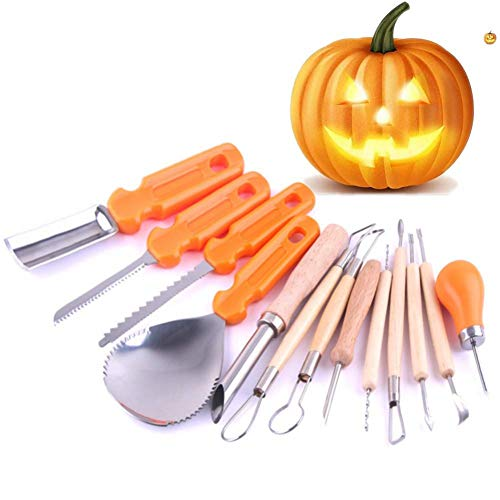 (Leezo Halloween Pumpkin Carving Tools Kit 13 Piece Heavy Duty Stainless Steel Tool Professional Pumpkin Stencils Kit for Halloween)