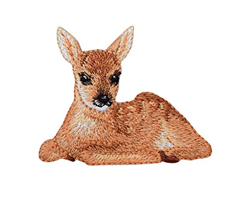 Natural Fawn Deer Laying Down Iron On Embroidered Applique Patch