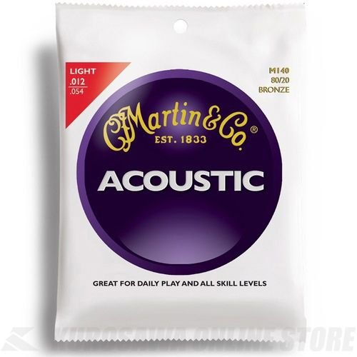 Bronze Wound Extra Light - Martin M140 80/20 Bronze Round Wound Acoustic Strings - Light