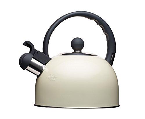 Kitchencraft Living Nostalgia - Tetera de silbadora, para Cocina de induccion y electrica, 1,4l (2,5pintas), Estilo Antiguo, Metal, Crema, 18 x 21 5 x 21 cm