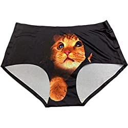 BR Peek-My-Cat Peeking Kitty Women's Ladies Seamless Panties Ultra Soft Light Weight (BLACK)