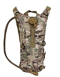 Global Sportsman Tactical Hydration Pack Backpack Carrier With 2.5 Liter / 84 oz. Water Drinking Bladder Reservoir Capacity System Includes Hosing And Hands Free Bite Valve, Heavy Duty D-Rings, Storage Pocket, Adjustable Shoulder Strap & Emergency Carry H