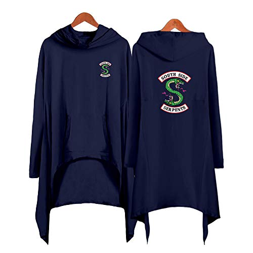 YXSM River Valley Town Double-Headed Snake Sexy Dress Trend Irregular Hooded Sweater (Navy,M) ()