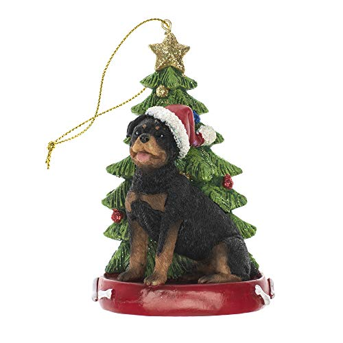 - K. Adler Rottweiler 4 Inch Santa Dog Resin Christmas Ornament