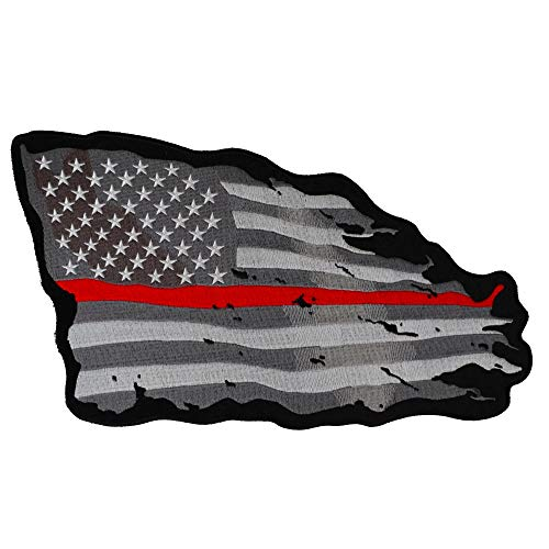 (American Flag Patch Large Tattered with Red Stripe - Iron on Patch - 11.75x9 inch)