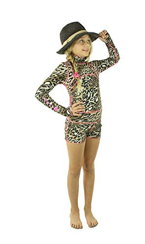 TutuBlue Girls Short Beach Suit UPF50 - As Seen On Shark Tank (10-11, Pink Leopard) by TutuBlue