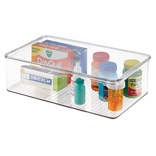 mDesign Stackable Plastic Storage Bin Box with Hinged Lid - Organizer for Vitamins, Supplements, Serums, Essential Oils, Medicine Pill Bottles, Adhesive Bandages, First Aid Supplies - Clear