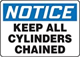 Accuform Signs® 7'' X 10'' Black, Blue And White 0.040'' Aluminum Cylinder And Compressed Gas Sign ''NOTICE KEEP ALL CYLINDERS CHAINED'' With Round Corner