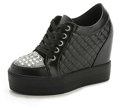 ACE SHOCK Women Summer Wedge Sneakers High Heel Rhinestone Upper Wide Width Walking Shoes (8.5, Black-Rhinestone)