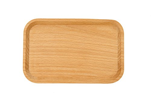 WOOD MEETS COLOR Wood Handmade Serving Tray, Food Fruit Plate, 7.8X5.1 Inches Creative Tableware (Beech Rectangular 1)