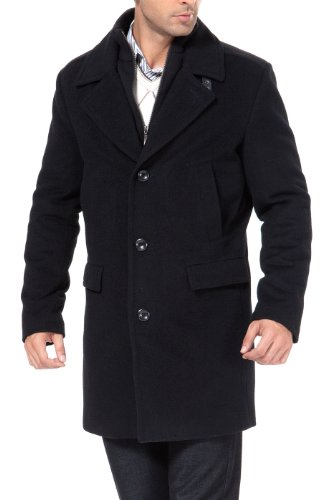 Cashmere Walking Coat - BGSD Men's Steven Cashmere Blend Bibbed Walking Coat, Black, Large