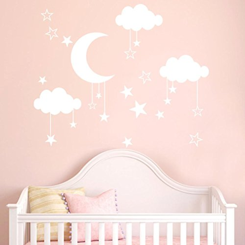 DIY Wall Sticker - Saihui - Moon and Stars Decals Cloudy Sky Baby Room Wall Decal Children Gift Bedroom Nursery Playroom Art Murals Decor (White)