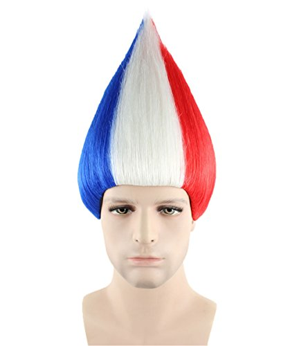 France National Dress Costume (Halloween Party Online France National Flag Troll Wig, Adult HM-128)