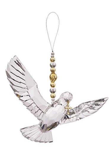 Crystal Expressions Hanging Dove with Gold Cross and Beads Ornament -