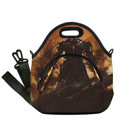 Insulated Lunch Bag,Neoprene Lunch Tote Bags,Fantasy World,Robot Warrior Terminator at War Fire Sword Weapon Paint Style Futuristic,Tan and Black,for Adults and -