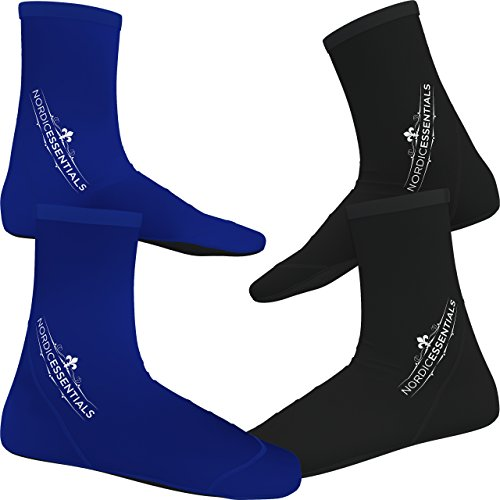 Beach Socks [2 Pairs] Wear in Sand Playing Volleyball & Soccer or as Booties for Snorkeling, Diving & Watersports - by Nordic Essentials™ - 1 Year Warranty (Black + Blue, L)