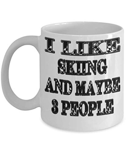 Funny Skiing Gifts 11oz Coffee Mug - Maybe 3 People - Best Inspirational Gifts and Sarcasm ak9505