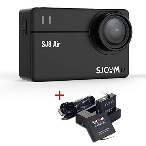 SJCAM SJ8 Air 14MP Action Camera Touch Screen WiFi Sports Cam with 160°Wide Angle Lens,1080P Underwater Camera,Support External Mic Remote Control Waterproof Cam Include Dual Charger+2 Extra Batteries