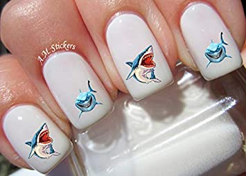 Amazoncom Sharks Water Nail Art Transfers Stickers Decals Set Of
