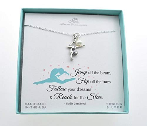 Girl's, Teen's, Woman's Sterling Gymnast Charm Pendant On An 18