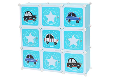 C&AHOME DIY 9 Cube Portable Kids Wardrobe Closet Organizer Storage Cubes Bookshelf Toy Rack Cabinet with Cartoon Door, Blue by C&AHOME