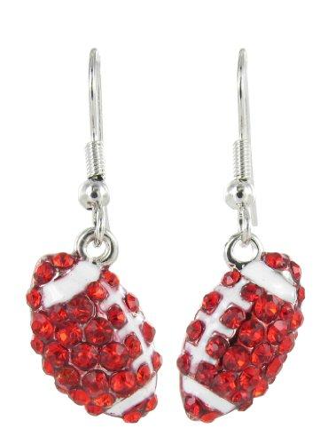Mini Pavé Football Rhinestone Fish Hook Earrings - Red Crystal and White Enamel Stripes