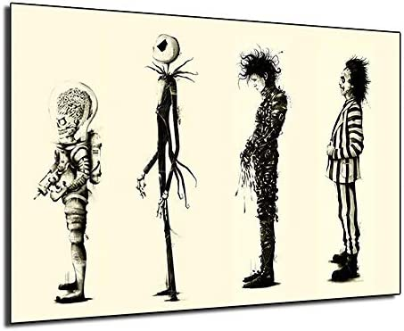 Tim burton Films Beetlejuice Poster Edward Scissorhands Paintings On Canvas Modern Art Decorative Wall Pictures Home Decoration Framed,24x36inch