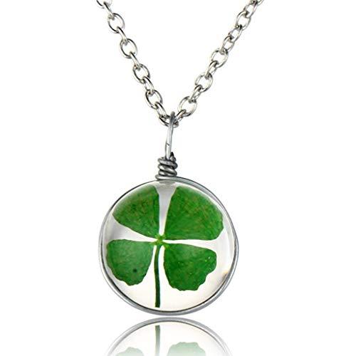 ERAWAN Green Lucky Shamrock Four Leaf Clover Glass Friends Family Gift Pendant Necklace EW sakcharn (#1)