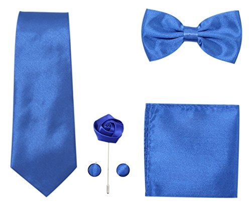 (JAIFEI Men's 5-Piece Necktie Set: Deluxe Necktie + Bowtie + Pair Of Cufflinks + Lapel Pin + Pocket Square Handkerchief For Birthday, Wedding, Anniversary (Royal Blue))